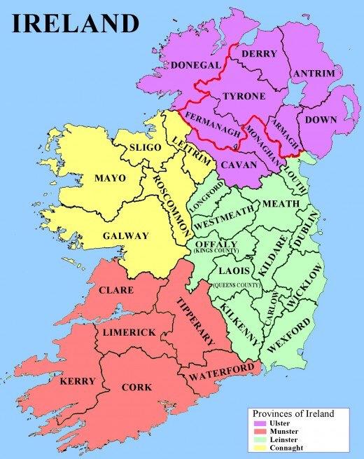 Map Of Ireland Provinces And Counties.Ireland Counties Provinces Rang 4 Clonlara